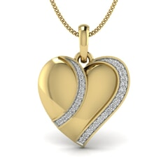 18KT Gold and 0.09 Carat Round Diamond Heart Pendant