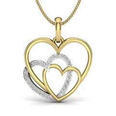 18KT Gold and 0.13 Carat Round Diamond Heart Pendant