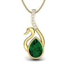 14KT Gold and 0.07 Carat Round Diamond Swan Pendant