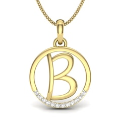 B -14KT Gold and 0.06 Carat F Color VS Clarity Initial Pendant