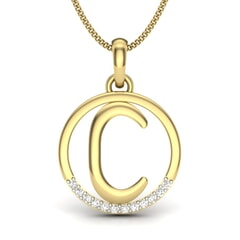 C -14KT Gold and 0.06 Carat F Color VS Clarity Initial Pendant