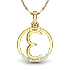 E -14KT Gold and 0.06 Carat F Color VS Clarity Initial Pendant