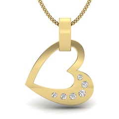 18KT Gold and 0.07 Carat Round Diamond Heart Pendant