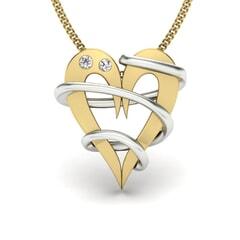 18KT Gold and 0.03 Carat Round Diamond Heart Pendant