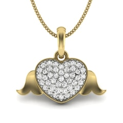 14KT Gold and 0.27 Carat Round Diamond Angel Wing Pendant