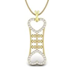 14KT Gold and 0.30 Carat Round Diamond Cute Bone Pendant