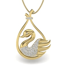 14KT Gold and 0.28 Carat Round Diamond Swan Pendant