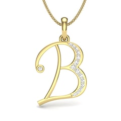 B -10K Gold and 0.11 Carat F Color VS Clarity Initial Pendant