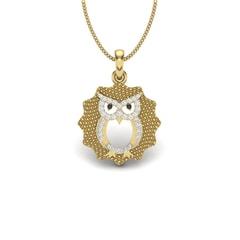 14KT Gold and 0.12 Carat Round Diamond Owl Pendant