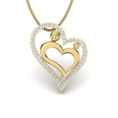 18KT Gold and 0.22 Carat Round Diamond Heart Pendant