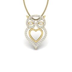 14KT Gold and 0.30 Carat Round Diamond Owl Pendant