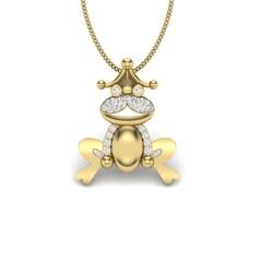 14KT Gold and 0.11 Carat Round Diamond Frog Pendant