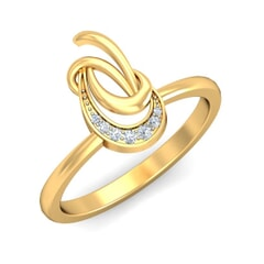 18KT Gold and 0.05 Carat F Color VS Clarity Diamond Ring
