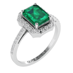 18KT Gold Ring with 1.25 carat Natural Emerald with 0.35 carat Diamonds