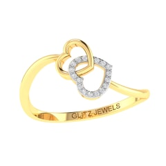 14K Gold and 0.05 carat Round Diamond Heart Ring