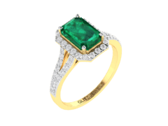 18KT Gold Ring with 1.90 carat Natural Emerald with 0.50 carat Diamonds
