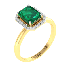 18KT Gold Ring with 1.80 carat Natural Emerald with 0.14 carat Diamonds