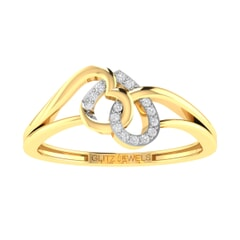 14K Gold and 0.06 carat Round Diamond Heart Ring
