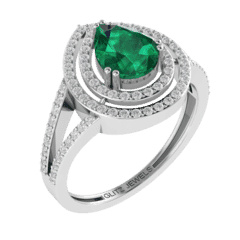 18KT Gold Ring with 1.25 carat Natural Emerald with 0.50 carat Diamonds