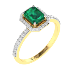 18KT Gold Ring with 1.00 carat Natural Emerald with 0.33 carat Diamonds