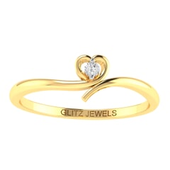 14K Gold and 0.17 carat Round Diamond Heart Ring