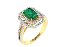 18KT Gold Ring with 1.40 carat Natural Emerald with 0.55 carat Diamonds