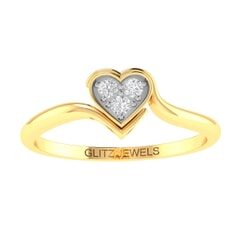 14K Gold and 0.18 carat Round Diamond Heart Ring