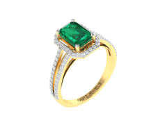 18KT Gold Ring with 1.40 carat Natural Emerald with 0.38 carat Diamonds