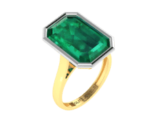 18KT Gold Ring with 11.75 carat Natural Emerald with 0.12 carat Diamonds