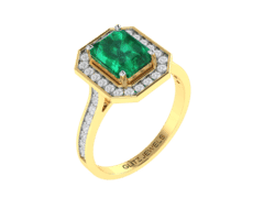 18KT Gold Ring with 1.90 carat Natural Emerald with 0.38 carat Diamonds