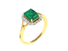 18KT Gold Ring with 1.55 carat Natural Emerald with 0.20 carat Diamonds
