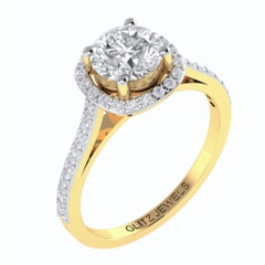 18KT Gold and 0.30 carat center Diamond Engagement Ring with Certificate