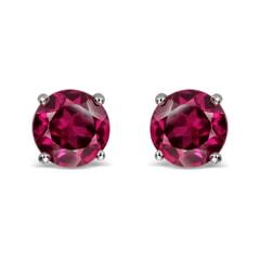 14K Gold Created Ruby Earrings
