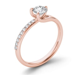 18KT Gold and 1.00 carat Side Diamond Engagement Ring with Certificate