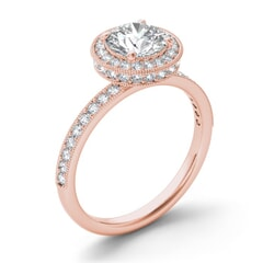 18KT Gold and 1.00 carat Halo Engagement Diamond Ring with Certificate
