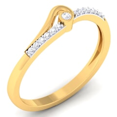 18K Gold and 0.10 Carat F Color and VS Clarity Diamond Asian Vogue Ring