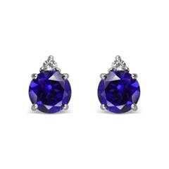 14K Gold Created Sapphire Earrings