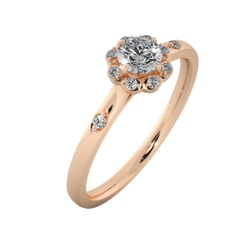 18KT Gold Ring with 0.30 Carat D Color VVS1 Center Diamond with Certificate  and Side Stone 0.12 Carat