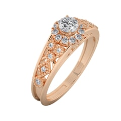 18KT Gold Ring with 0.30 Carat D Color VVS1 Center Diamond with Certificate  and Side Stone 0.26 Carat