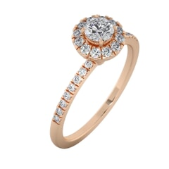 18KT Gold Ring with 0.25 Carat D Color VVS1 Center Diamond and Side Stone 0.26 Carat