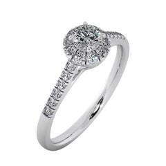 แหวนทอง 18KT ประดับเพชรเม็ดกลาง 0.25 กะรัต ค่าสี D ค่าความสะอาด VVS1 และเพชรด้านข้าง 0.25 กะรัต