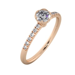 18KT Gold Ring with 0.33 Carat D Color VVS1 Center Diamond with Certificate  and Side Stone 0.18 Carat