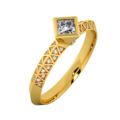 18KT Gold Ring with 0.30 Carat D Color VVS1 Center Diamond with Certificate and Side Stone 0.10 Carat