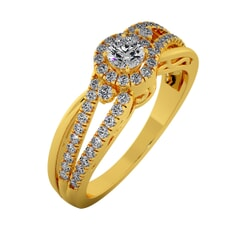 18KT Gold Ring with 0.20 Carat D Color VVS1 Center Diamond and Side Stone 0.45 Carat