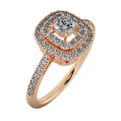 18KT Gold Ring with 0.25 Carat D Color VVS1 Center Diamond and Side Stone 0.45 Carat