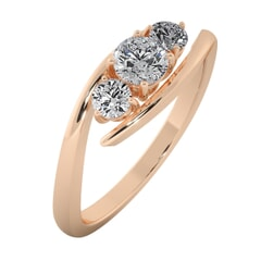18KT Gold Ring with 0.25 Carat D Color VVS1 Center Diamond and Side Stone 0.35 Carat