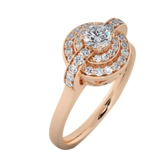 18KT Gold Ring with 0.25 Carat D Color VVS1 Center Diamond and Side Stone 0.30 Carat