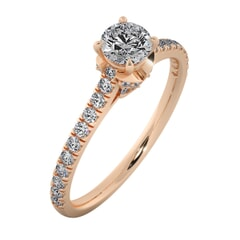 18KT Gold Ring with 0.40 Carat D Color VVS1 Center Diamond with Certificate and Side Stone 0.30 Carat