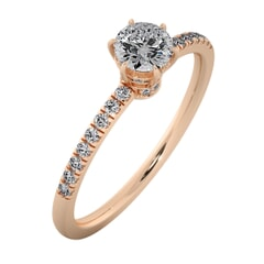 18KT Gold Ring with 0.40 Carat D Color VVS1 Center Diamond with Certificate and Side Stone 0.20 Carat