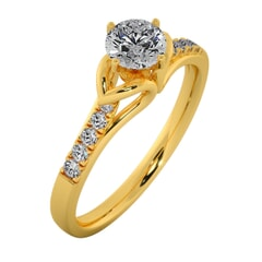 18KT Gold Ring with 0.40 Carat D Color VVS1 Center Diamond with Certificate and Side Stone 0.10 Carat